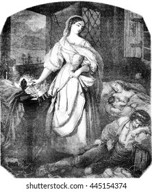 Two dreams, vintage engraved illustration. Magasin Pittoresque 1852.