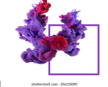Two drops of color merged under water create colorful organic abstract form and shapes with detailed structures. Violet and red ink color swirl. A graphic composition with a square. No text.