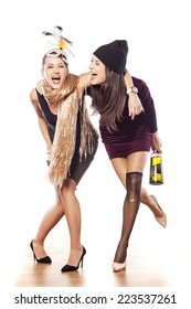 two drunk friends with a bottle on white background