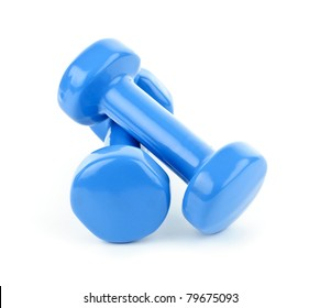 Two dumbbell free weights isolated on white background