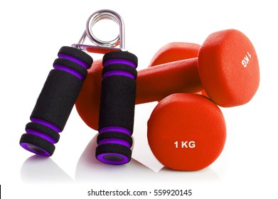 Two of dumbbells with the simulator for hands