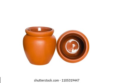 two earthen water jar empty isolated on white background with clipping path.