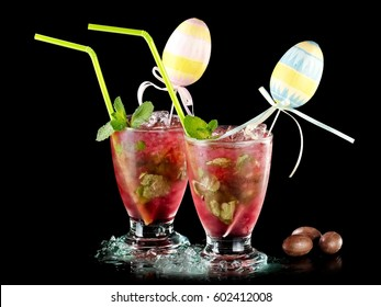 Two Easter red mojito cocktails