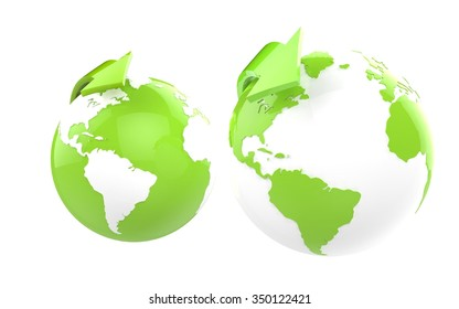 Two eco green globes