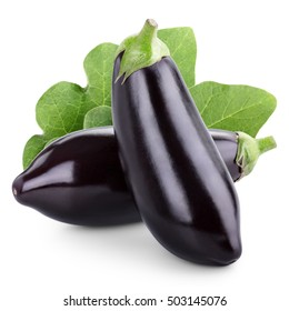 Two eggplant with leaves isolated on white background