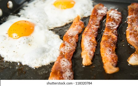 Two Eggs Sunny Side Up and Four Strips of Bacon Sizzling on Skillet