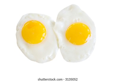 Two eggs, sunny side up. Isolated.