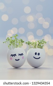 Two eggshells smiley faces with cress sprouts. Easter eggshell planters