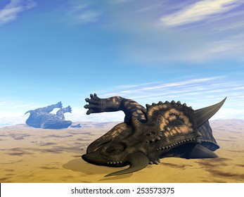 Two einiosaurus dinosaurs dead in the desert because of lack of water - 3D render