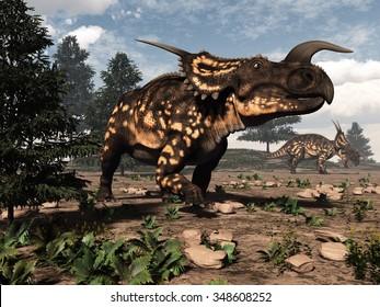 Two einiosaurus dinosaurs walking in the desert by day - 3D render