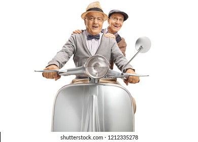 Two elderly gentleman riding a vintage scooter isolated on white background