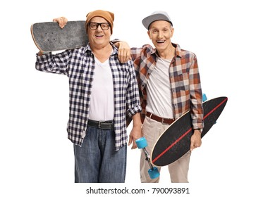 Two elderly skaters with longboards looking at the camera and smiling isolated on white background