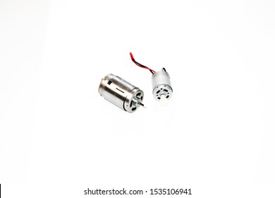 Two Electric motor on white background