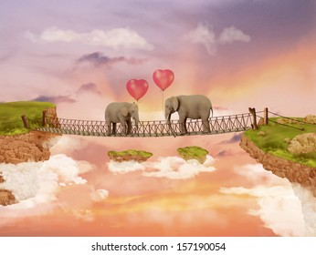 Two elephants on a bridge in the rays of the setting sun with balloons. Illustration for a card or book cover or magazine. Computer graphics.