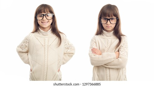 Two emotionally opposite female portraits girl  in glasses. Positive and negative emotions. First is joyful and cheerful, second portrait sad and serious face. Isolation on white background.
