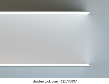 Two empty advertising shelves on dark background. 3d rendering