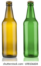Two empty beer bottles isolated on white background