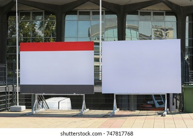 Two Empty Billboards in Front of Exibiton Hall