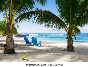 Two empty deckchairs on beach, Upolu Island, Western Samoa, South Pacific