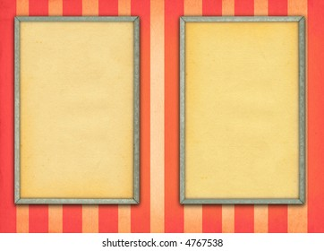 two empty frames on retro background with stripes