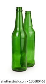 two empty glass bottles isolated on white background