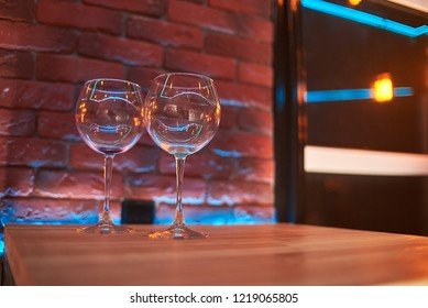 two empty glasses in the club