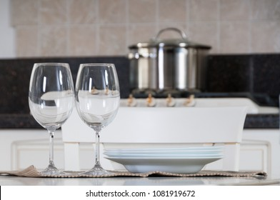 Two empty glasses for wine on the table