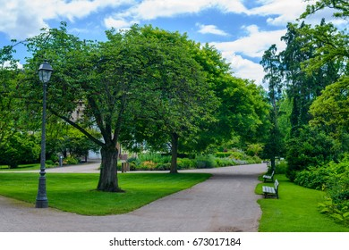 Two empty rustic wooden benches alongside a path or walkway in a tranquil verdant spring park with leafy green trees