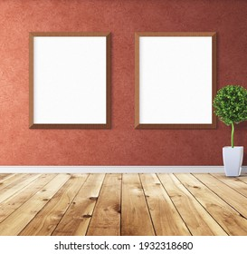 Two empty white posters on wall with wooden frame.