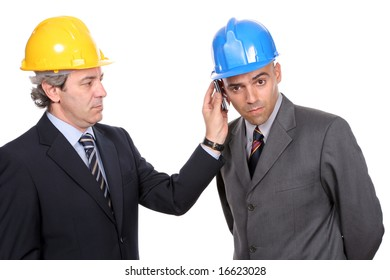 Two Engineers or Architects, on the phone, isolated in white background