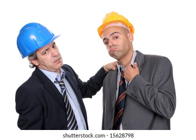 Two Engineers or Architects, very tired, isolated in white background
