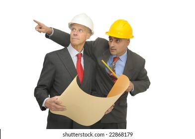 Two engineers isolated against a white background