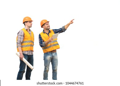 The two engineers with a tablet gesture on the white background