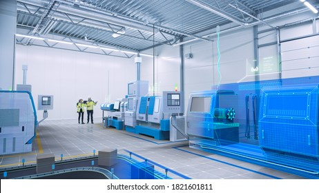Two Engineers Use Digital Tablet Computer with Augmented Reality Software to Create 3D Blueprint of CNC Machinery Production Line. Industry 4.0 Graphics Visualization in Factory. VFX Special Effects
