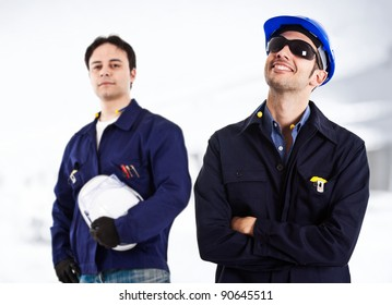 Two engineers working together in a construction site