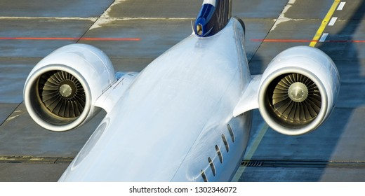 Two engines at the tail of a passenger aircraft