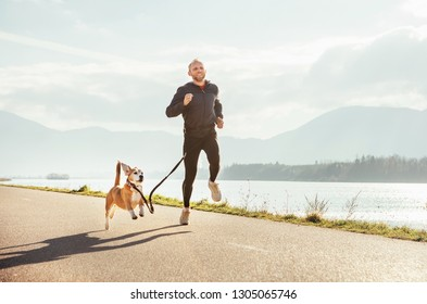 Two enthusiastic joggers: man and his beagle dog have a jogging at the morning time