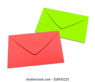 Two envelopes on white background