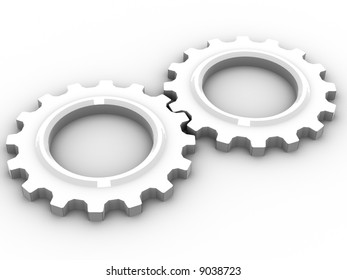 Two equal sized cogs indicating harmony, partnership and working together.