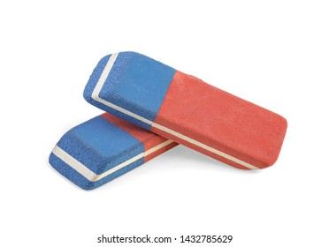 Two erasers isolated on a white background, close up.