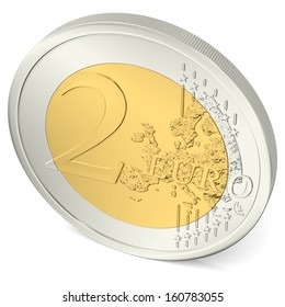 two euro coin from above