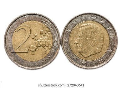 Two euro coin back and front isolated on white