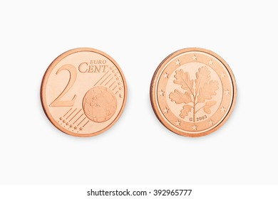 two euro coin cent isolated on white background