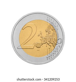 Two euro coin isolated on white background