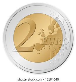 Two euro coin isolated on a white background.