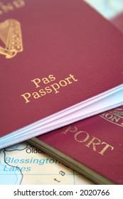 Two European Passports on map