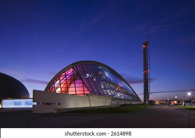Two examples of Glasgow's modern architecture in twilight