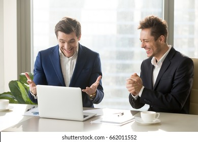 Two excited businessmen celebrating victory, won profitable contract, unexpected amazing win, big deal on stock, impressive achievement, unbelievable success, funny positive emotions at workplace