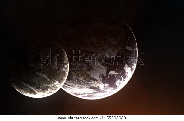 Two Exoplanets Atmosphere Deep Space Abstract Stock Photo