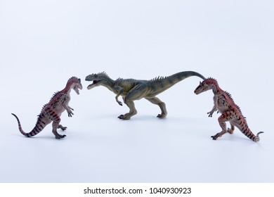 Two face to face Cryolophosaurus dinosaur in attack position for a allosaurus with white background